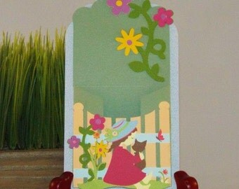 Unique handmade gift card holder Garden Girl - for a Birthday, thank you, or wedding party favors - with a matching organza pouch