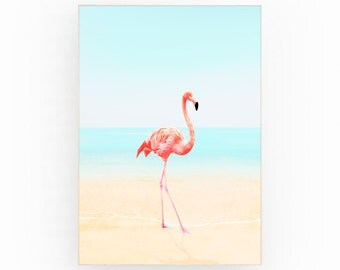 Flamingo art print beach decor flamingo wall art beach coastal art beach wall art coastal wall art beach print decor flamingo on the sand