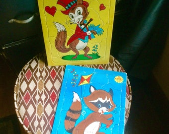 Built Rite Toys Sta-N-Place FURRY Inlaid Child's Tray Puzzles #126  Fox and Racoon