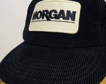 MORGAN Cap Hat Authentic Vintage Blue Corduroy Trucker Snapback