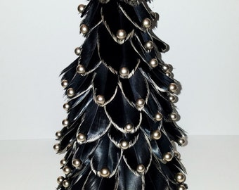 Black Feathered Christmas Mantel Tree