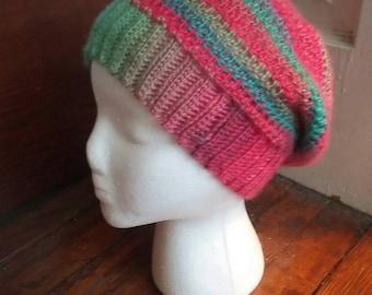 Crochet Slouchy Hat, rainbow