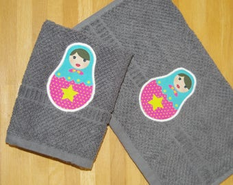 Towels invited gray matryoshka Star Pink