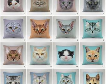 Cat pillow cover Decorative pillow Throw pillow cover Cushions pillow 16x16, 18x18, 20,20 all sizes cat pillow case kittens breeds mega set