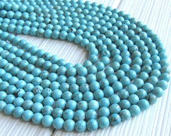 Turquoise Magnesite, 6mm beads, full strand, blue turquoise beads, magnesite beads, blue magnesite, blue beads, 6mm blue beads, US seller