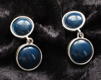 Vintage Napier Silver Tone Double Blue Bead Clip On Earrings BNE # 128