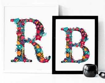 Floral Initial Print A5/A4 size