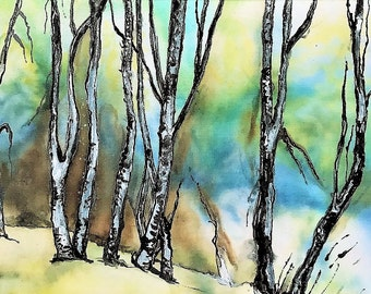 Free shipping Original silk painting, Landscape, Nature, Winter Landscape, Trees, Birches, Framed, Size: A5 (21 x 15 cm)