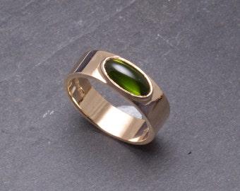 Beautiful gold and green tourmaline ring