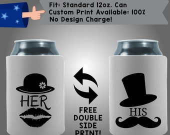 Her His Collapsible Fabric Wedding Cooler Double Side Print (W192)