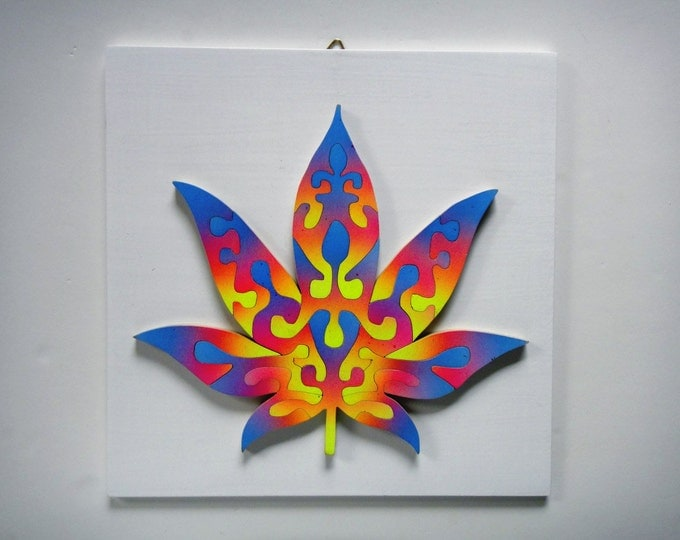 Unique Puzzle: Jah Rastafari Rainbow Cannabis Leaf, Trippy Art, Adult Gift, Wooden Handmade, Ready To Hang, Acrylic On Pieces by Samo Svete