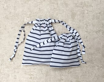 striped smallbags Navy - 2 sizes - reusable cotton bags - zero waste