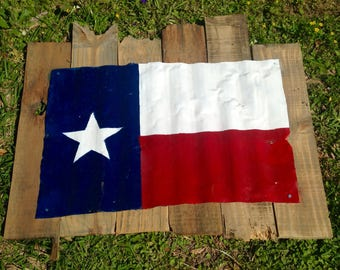 Rustic Texas Flag, Wall Decor, Salvaged Wood, Rustic Decor, Tin Metal Wall Art
