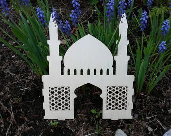 Wooden DIY mosque. Islamic toys/ muslim toys/muslim craft/paint-it-yourself mosque. 22×22 cm.