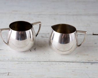 Set of Silverplate Creamer and Sugar Bowl with Handles-Food Photography Props