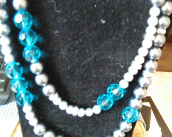 Beaded necklace, extra long, glass pearls, crystals, dressy neck wear, 36 inches