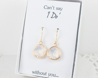 White Opal Gold Earrings, Gold White Opal Earrings, Opal Wedding Jewelry, Bridesmaid Gift, Bridesmaid Earrings, Opal Bridal Accessories
