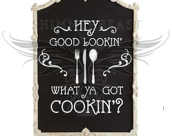 Kitchen SVG | Hey Good Lookin What Ya Got Cookin svg | Kitchen sign SVG | Cutting Board svg | Kitchen svg design | Cooking svg | Cook svg