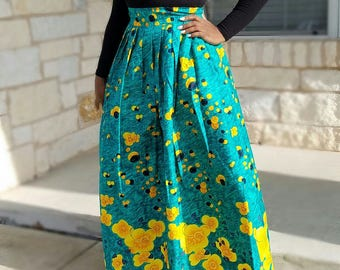 Green Multicolored African Pleated Skirt; Ankara Maxi Skirt; African Clothing, African Skirt; Green Skirt; Green Maxi Skirt; Ankara Skirt