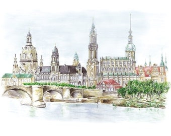 Canalettoblick Dresden - color - original signed art print