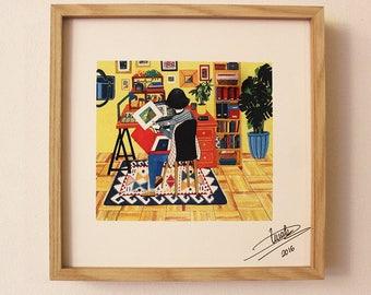 My Studio (illustration, digital printing Giclee of original painting)