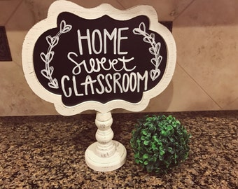 Home Sweet Classroom or Home Sweet Home Distressed Sign Hand Lettered Scalloped Chalkboard