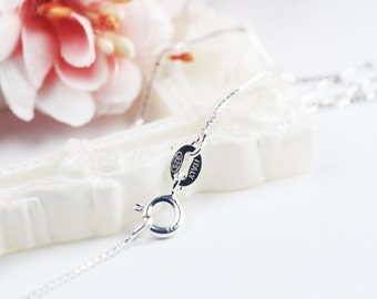 18inch 1mm 92.5 Sterling Solid Silver Square Link Necklace Chain