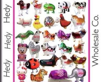 LOT of 5 MIXED Walking Pet Balloons Happy Birthday WHOLESALE