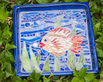 Handmade unique mosaic bird bath
