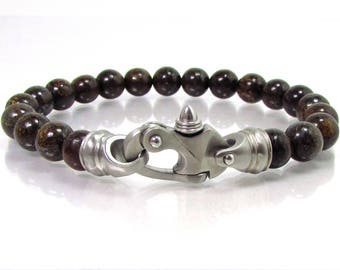Bronzite Gemstone  with Stainless Steel Clasp, Men Bracelet,Mens Bracelet,Gift for Men, Men Gemstone Bracelet,Beaded Bracelet