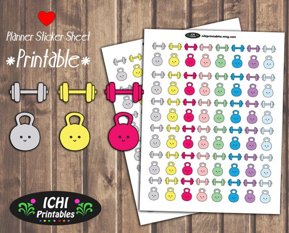 Workout Printable Planner Stickers Workout Planner Stickers