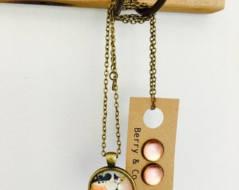 Cat Glass Pendant Chain and Earring Gift Set