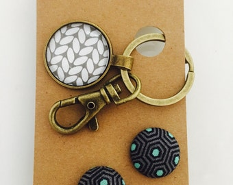 Grey and white Glass Keyring Chain and Earring Gift Set