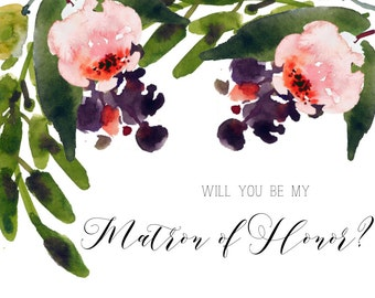 Watercolor Floral Matron of Honor Invitation