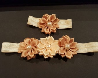 Cream and beige dainty flower  headband with matching baby bracelet
