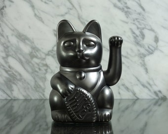 Maneki Neko / Lucky Cat / Waving Cat in 2 Sizes – Pewter effect