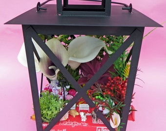 HAND MADE floral LANTERN / artificial flowers / gift / unique / decoration / beautiful / plants