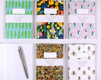 A6 Notebook set - Meadow Me collection, wild flower inspired lifestyle designs, contemporary, floral, bees, wildflower, paper goods, gift