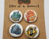 "Hogwart's House Crests (Set of 4) 1"" Button or Magnet"