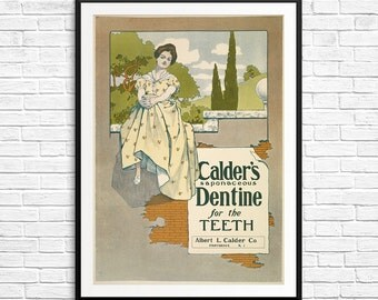 Vintage bathroom decor, Calder's Dentine, toothpaste ad, bathroom decor, bathroom art, bathroom wall decor, vintage ads, print ad, ad prints