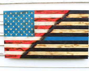 Thin Blue Line Flag, Police Officer Flag, Wood Flag, American Flag, Wooden Flag, Burnt Wood Flag, Police Flag, Charred Wood Flag, Rustic