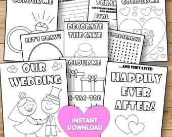 SALE!* Kids Wedding colouring & activity book- INSTANT DOWNLOAD - Pdf Reception Game,Colouring pages,Printable activity English SpellinG