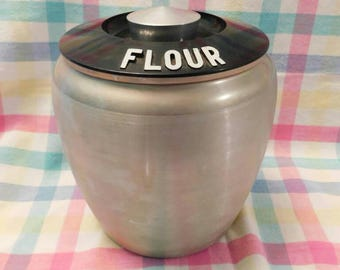 KROMEX FLOUR aluminum canister 1950s