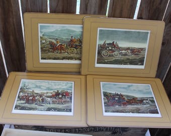 4 Traditional Placemats Vintage 1930's Pimpernal Cork Placemats Coach Scenes & Horses Made in United Kingdom Table Decor Serving Collectible