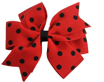 Red and Black Polka Dot Girls Boutique Boutique Hair Bow