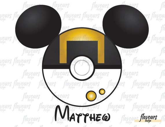 photo relating to Printable Pokeball identified as Mickey Pokeball Ultraball Ears Encouraged - Quick Obtain