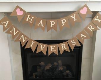 Happy Anniversary Banner, Anniversary Banner, Wedding Anniversary, Anniversary Party, Rustic Banner, Photo Prop