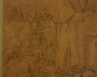 Reduced!Rare Original Old Master Drawing circa 1600's-1700's or earlier!!! VERY FINE QUALITY!! auction label!!