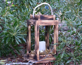 Rustic Wooden Lantern - Soft Pattern Design- Wedding Decor - Home Decor - Table Center Piece - Hanging Lantern