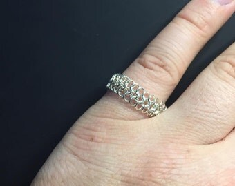 Flexible chain maille argentium silver ring